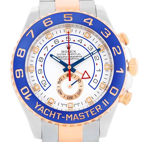 Photo of Rolex Yachtmaster II Steel 18k Rose Gold Mens Watch 116681 Box papers