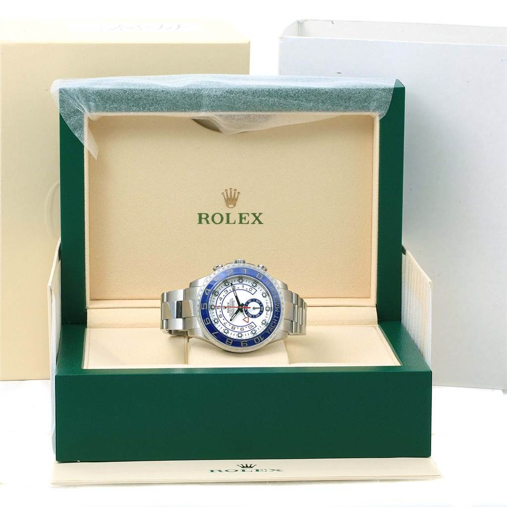 14380 Rolex Yachtmaster II Stainless Steel Blue Bezel Mens Watch 116680 SwissWatchExpo
