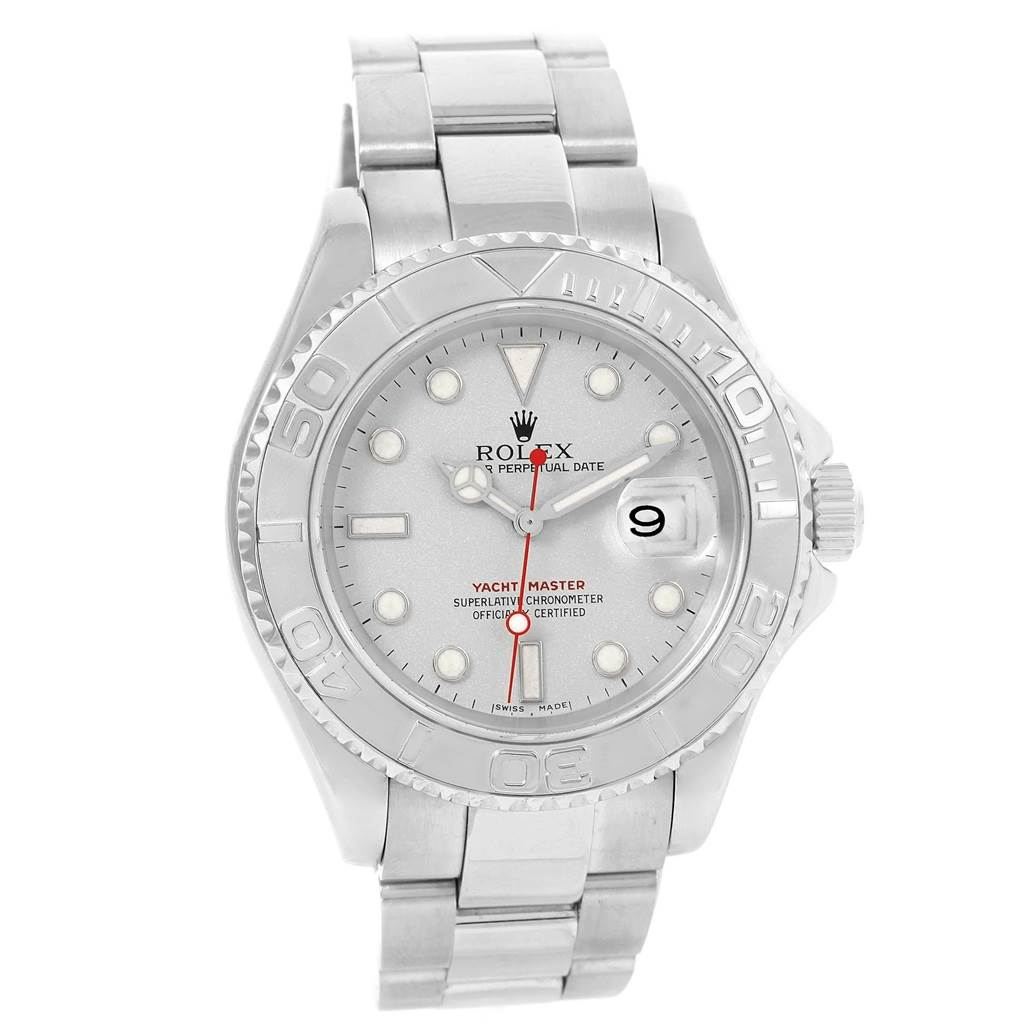 Rolex yachtmaster 40mm steel platinum dial bezel mens watch 16622 for Watches 40mm