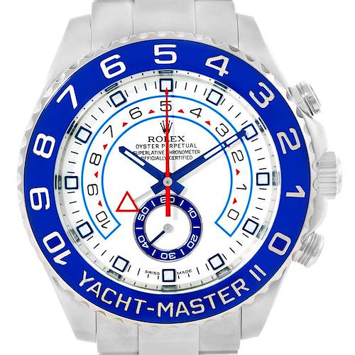 Photo of Rolex Yachtmaster II Stainless Steel Blue Bezel Mens Watch 116680 Box Papers