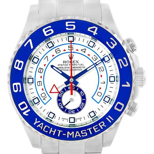 Photo of Rolex Yachtmaster II Blue Bezel Steel Mens Watch 116680 Box Papers