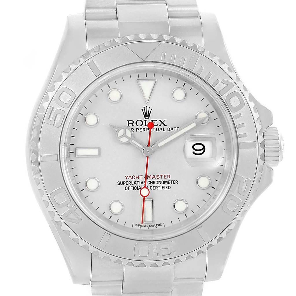 Rolex Yachtmaster 40 Steel Platinum Dial Bezel Mens Watch 116622