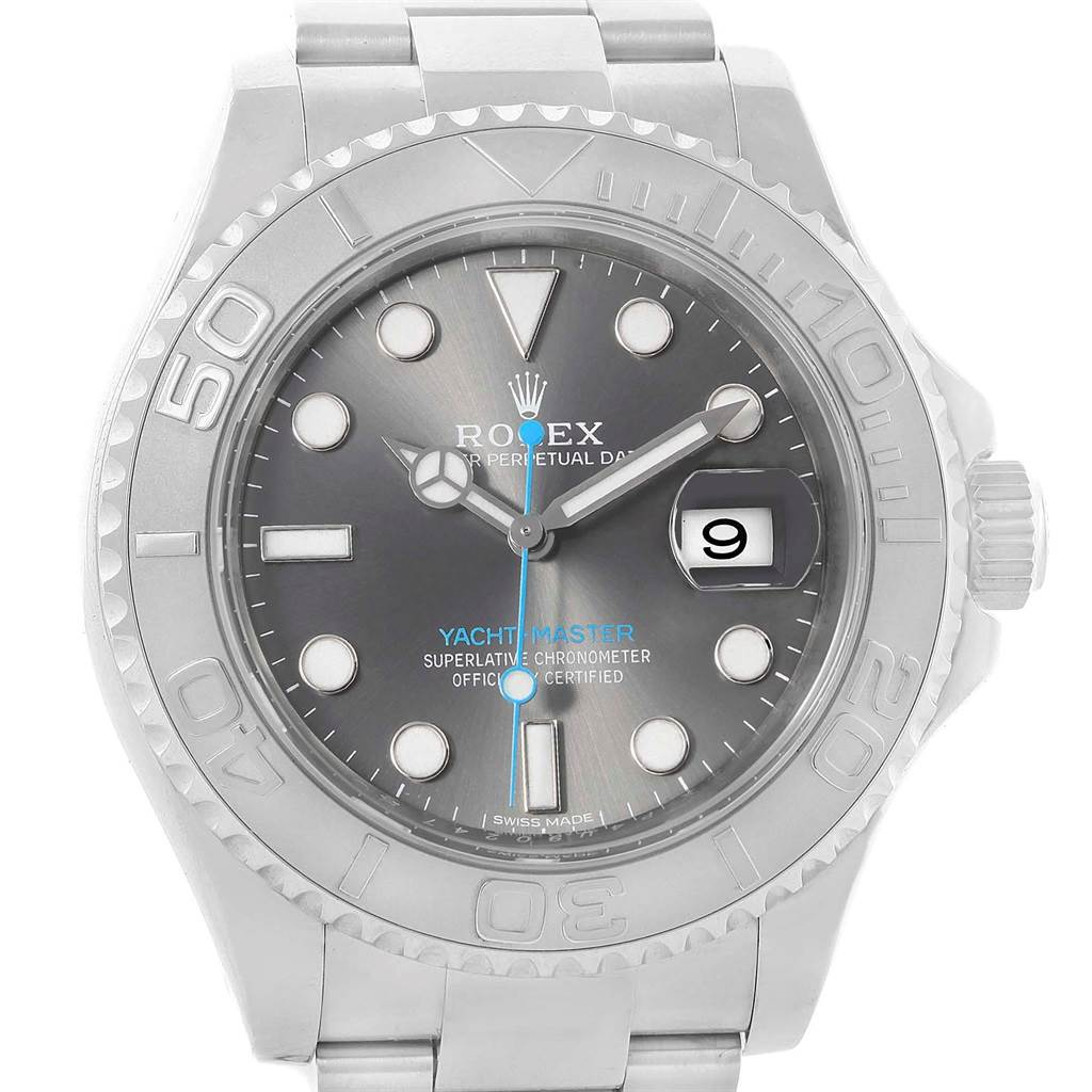 0d23bd3a2c8 ... 18036 Rolex Yachtmaster Rhodium Dial Steel Platinum Mens Watch 116622  Box Card SwissWatchExpo ...