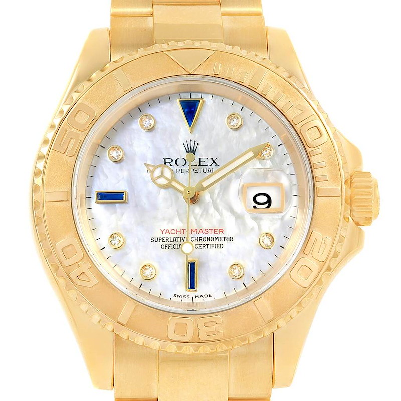 Rolex Yachtmaster Yellow Gold MOP Diamond Sapphire Serti Watch 16628 SwissWatchExpo