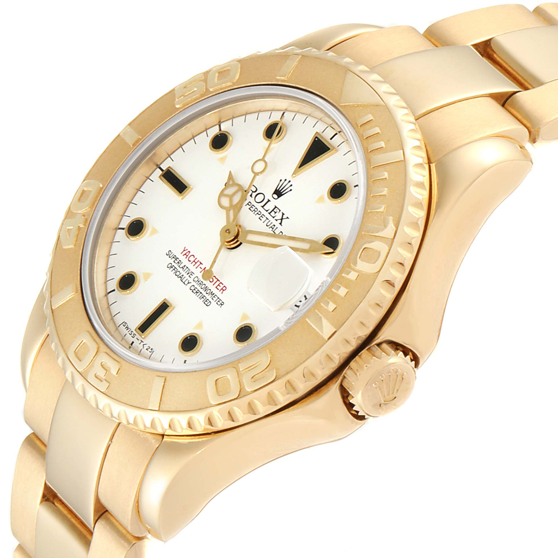 Rolex Yachtmaster Midsize 18K Yellow Gold White Dial Unisex Watch 68628 SwissWatchExpo