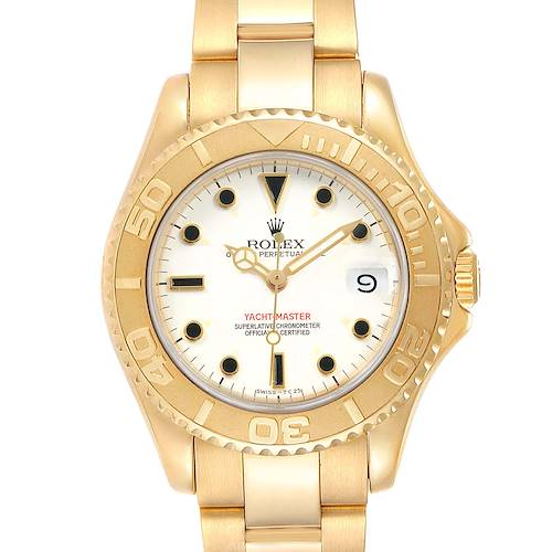 Photo of Rolex Yachtmaster Midsize 18K Yellow Gold White Dial Unisex Watch 68628