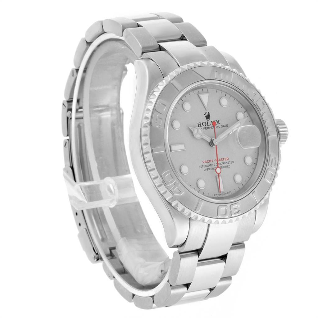 22268 Rolex Yachtmaster 40mm Steel Platinum Dial Bezel Mens Watch 16622 SwissWatchExpo