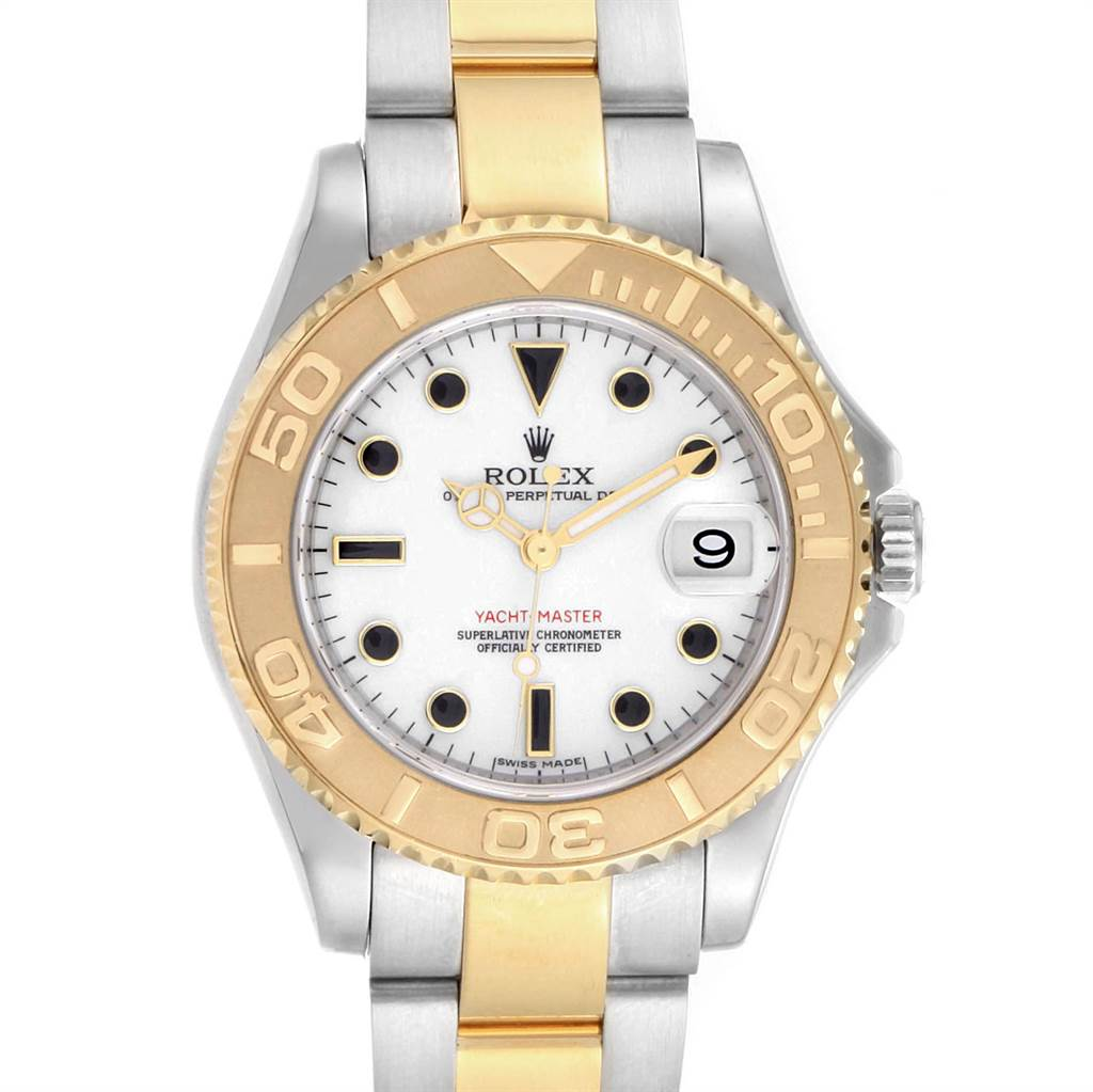 23056 Rolex Yachtmaster 35 Midsize Steel Yellow Gold White Dial Watch 168623 SwissWatchExpo