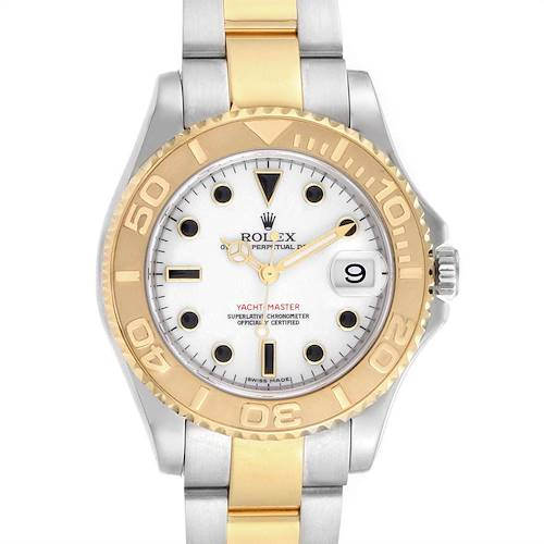 Photo of Rolex Yachtmaster 35 Midsize Steel Yellow Gold White Dial Watch 168623