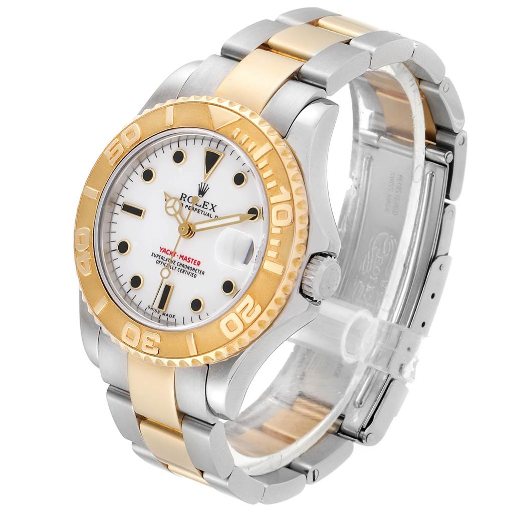 23348 Rolex Yachtmaster 35 Midsize Steel Yellow Gold Watch 168623 Box Papers SwissWatchExpo