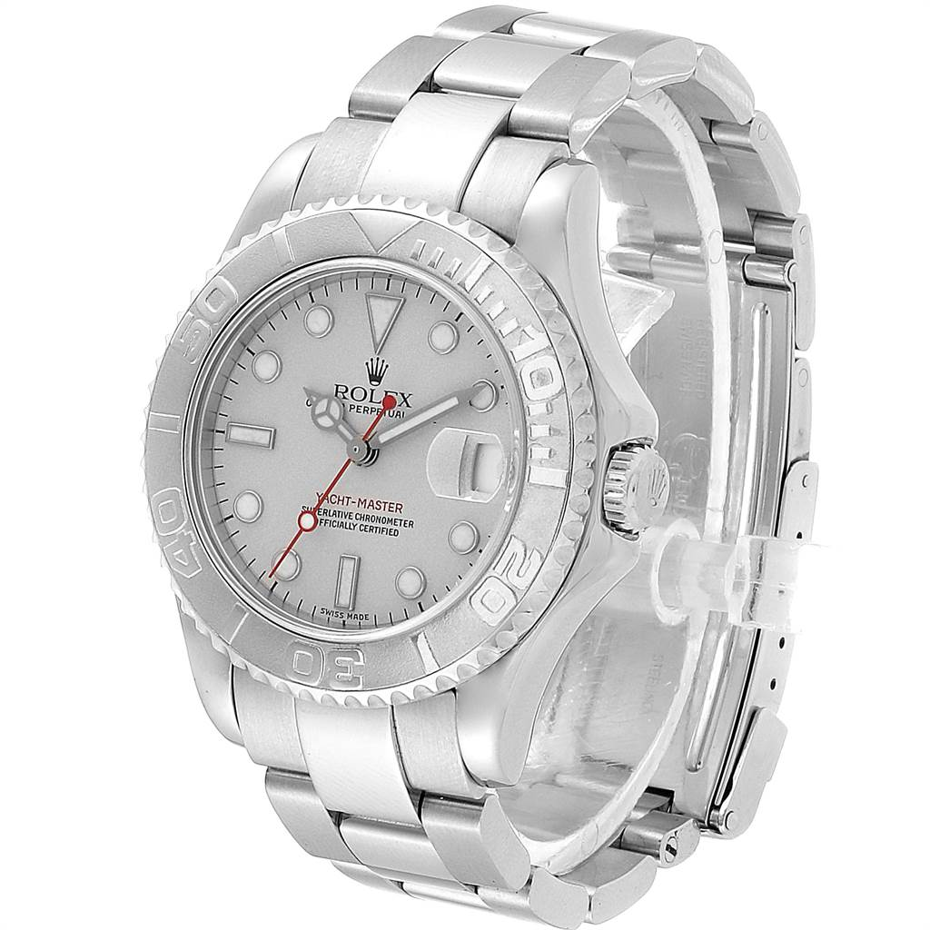 22783 Rolex Yachtmaster 35mm Midsize Steel Platinum Mens Watch 168622 SwissWatchExpo