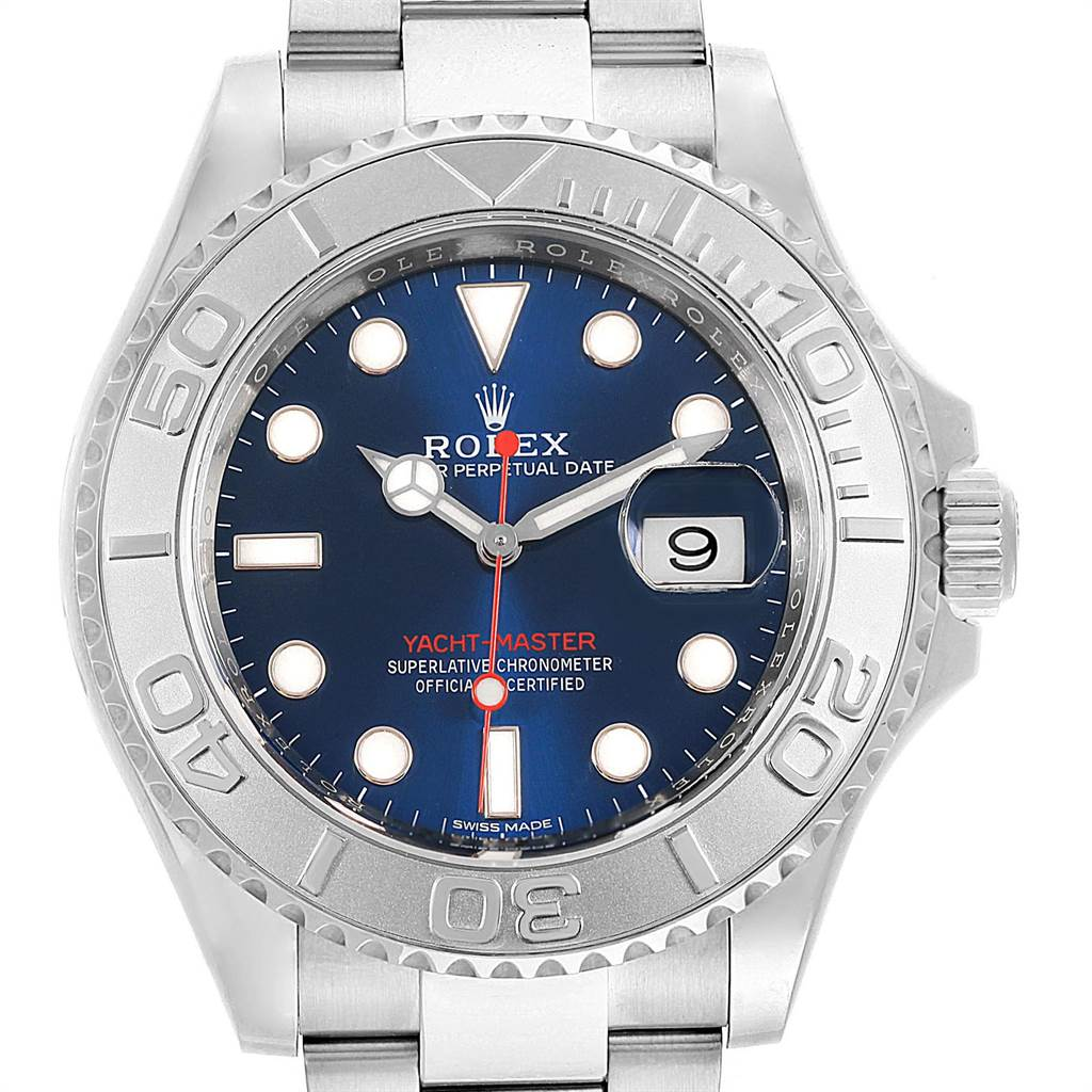 23377 Rolex Yachtmaster Steel Platinum Blue Dial Mens Watch 116622 Box Card SwissWatchExpo