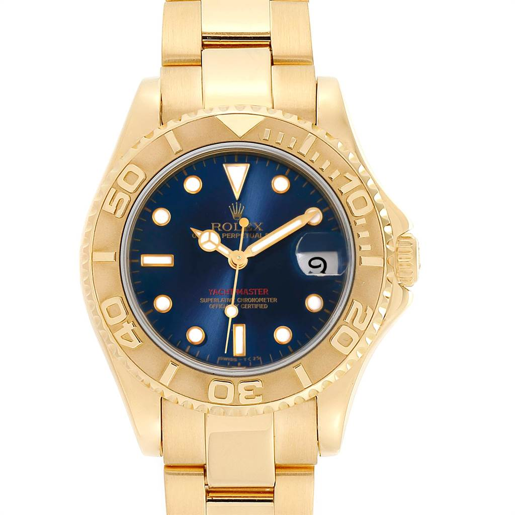 22316X Rolex Yachtmaster Midsize 18K Yellow Gold Blue Dial Unisex Watch 68628 SwissWatchExpo