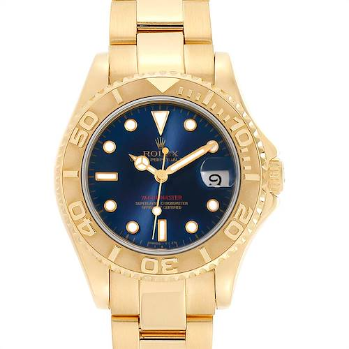 Photo of Rolex Yachtmaster Midsize 18K Yellow Gold Blue Dial Unisex Watch 68628