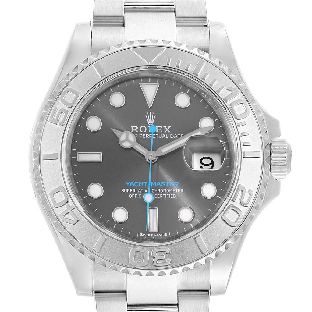 23396 Rolex Yachtmaster Rhodium Dial Steel Platinum Mens Watch 116622 Box Card SwissWatchExpo