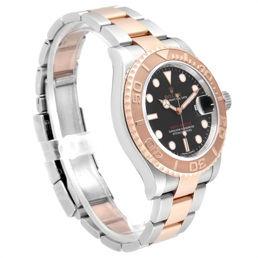 Rolex Yachtmaster 40 Everose Gold Steel Black Dial Watch 116621 Box Card SwissWatchExpo