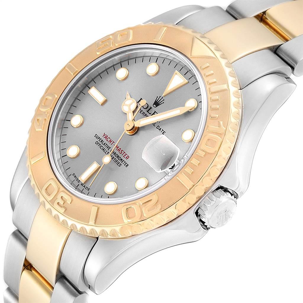 24065 Rolex Yachtmaster 35 Midsize Steel Yellow Gold Slate Dial Watch 168623 SwissWatchExpo