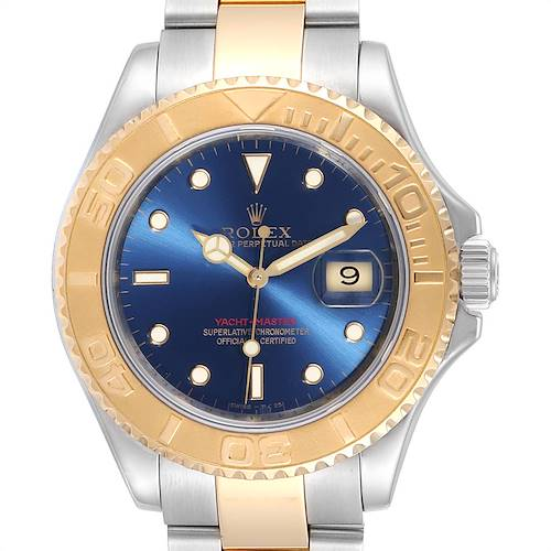 Photo of Rolex Yachtmaster 40mm Steel Yellow Gold Blue Dial Mens Watch 16623