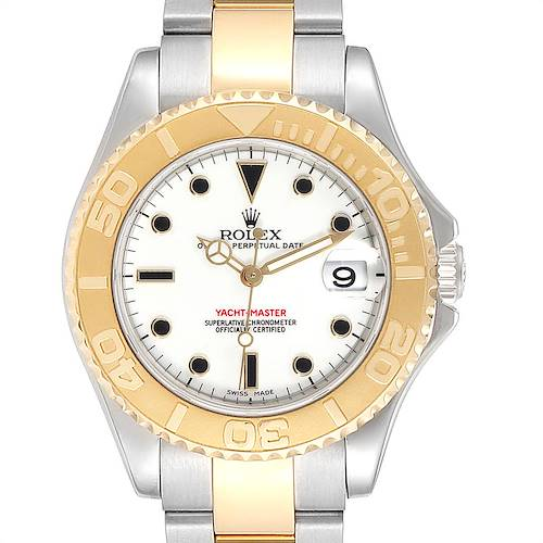 Photo of Rolex Yachtmaster 35 Midsize Steel Yellow Gold Watch 168623 Box Papers