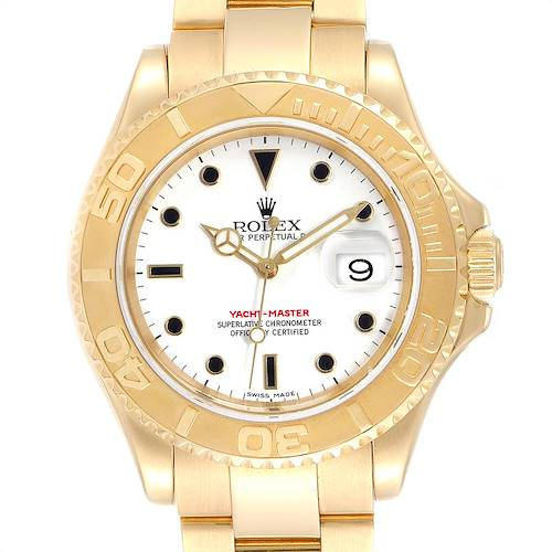 Photo of Rolex Yachtmaster 40mm Yellow Gold White Dial Mens Watch 16628
