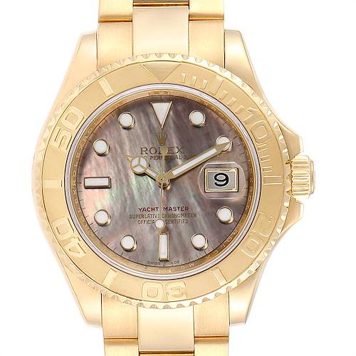 Photo of Rolex Yachtmaster Yellow Gold Mother of Pearl Mens Watch 16628 Box Card