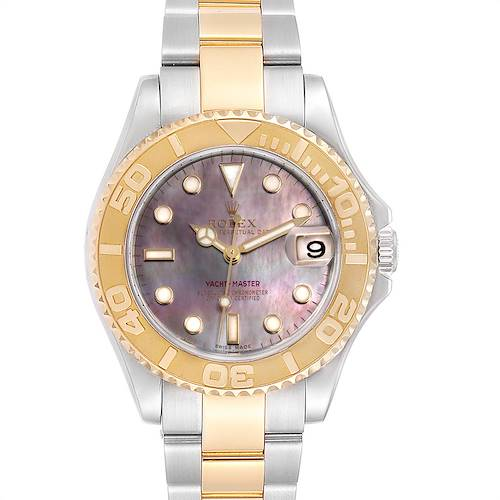 Photo of Rolex Yachtmaster 35 Midsize Steel Yellow Gold MOP Dial Watch 168623