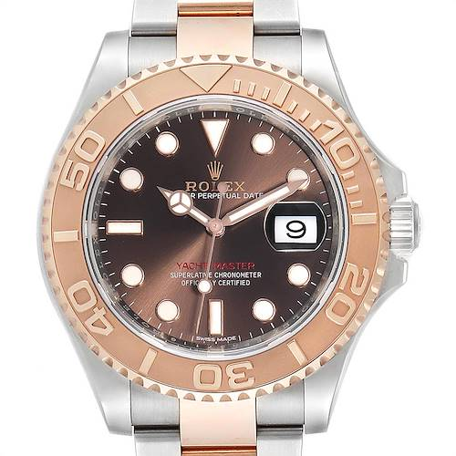 Photo of Rolex Yachtmaster 40 Everose Gold Steel Chocolate Dial Watch 116621 Box Card