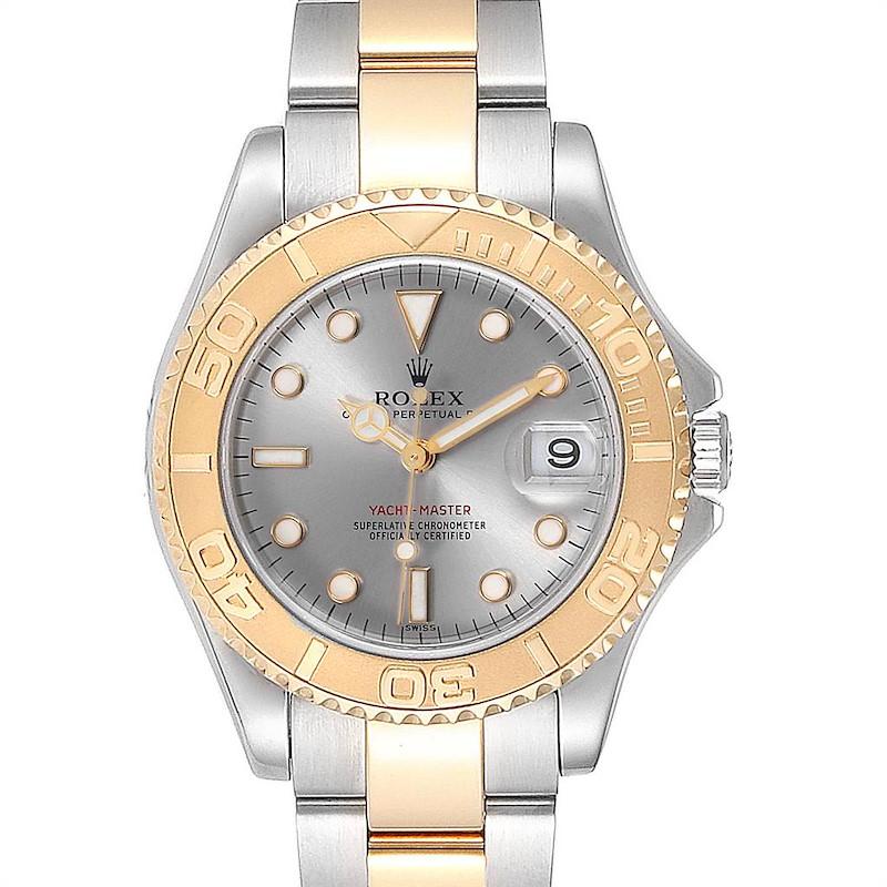 Rolex Yachtmaster 35 Midsize Steel Yellow Gold Slate Dial Watch 168623 SwissWatchExpo