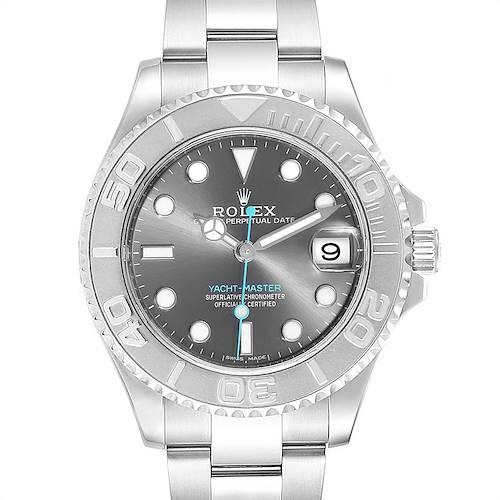Photo of Rolex Yachtmaster 37 Midsize Steel Platinum Rhodium Dial Mens Watch 268622