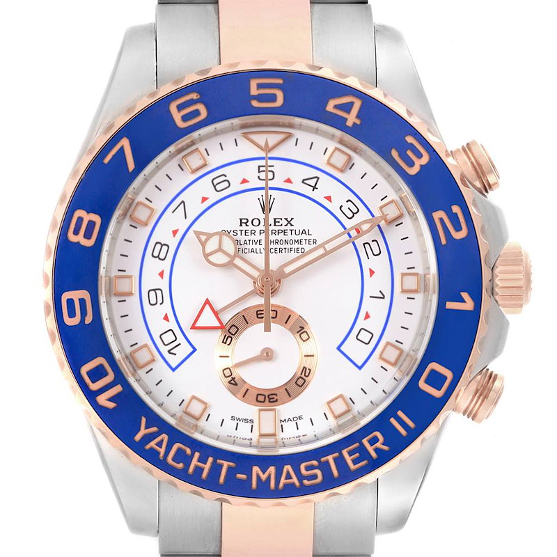 Rolex Yachtmaster II Steel EveRose Gold Mercedes Hands Mens Watch 116681 SwissWatchExpo