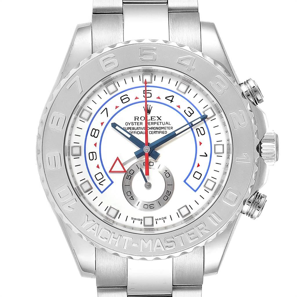 26332 Rolex Yachtmaster II Regatta White Gold Platinum Watch 116689 Box Card SwissWatchExpo
