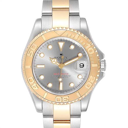 Photo of Rolex Yachtmaster 35 Midsize Steel Yellow Gold Slate Dial Watch 168623