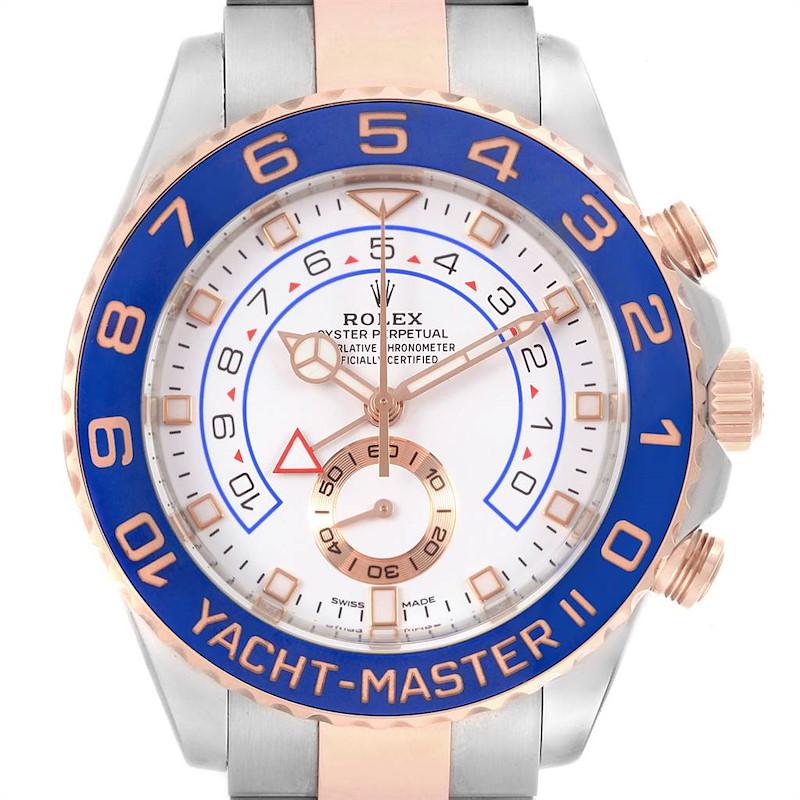 Rolex Yachtmaster II Steel EveRose Gold Mercedes Hands Mens Watch 116681 Unworn SwissWatchExpo