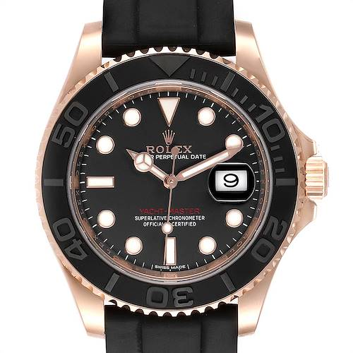 Photo of Rolex Yachtmaster 40 18K Everose Gold Rubber Strap Watch 116655