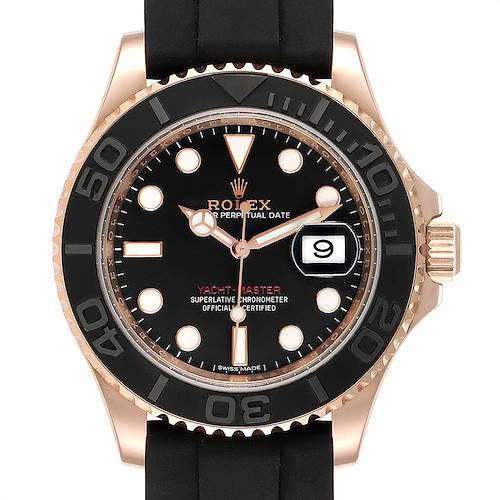Photo of Rolex Yachtmaster 40mm 18K Everose Gold Rubber Strap Mens Watch 116655