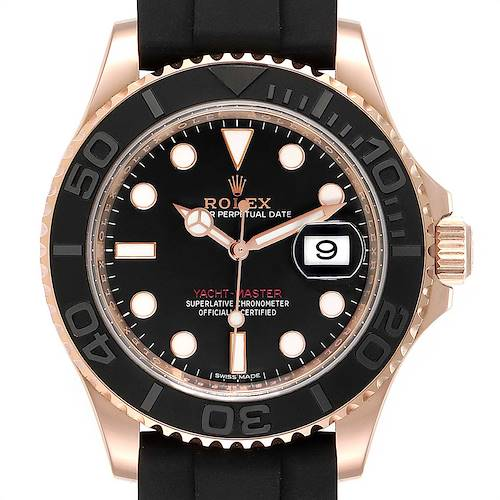 Photo of Rolex Yachtmaster 40mm Everose Gold Rubber Strap Watch 116655 Box Card