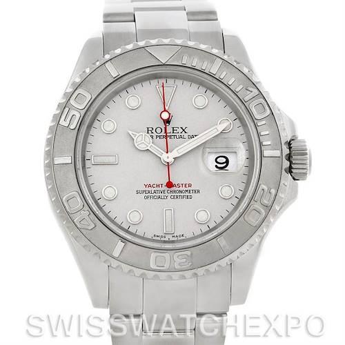 Photo of Rolex Mens Steel Platinum Yachtmaster 16622 Watch