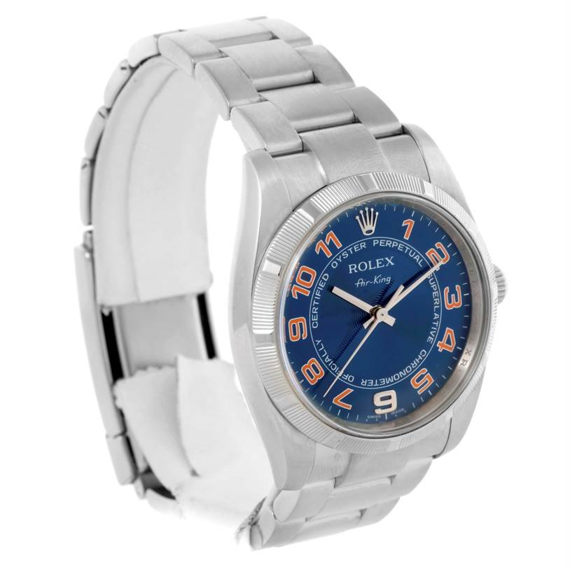 10656 Rolex Oyster Perpetual Air King Blue Pink Dial Mens Watch 114210 SwissWatchExpo