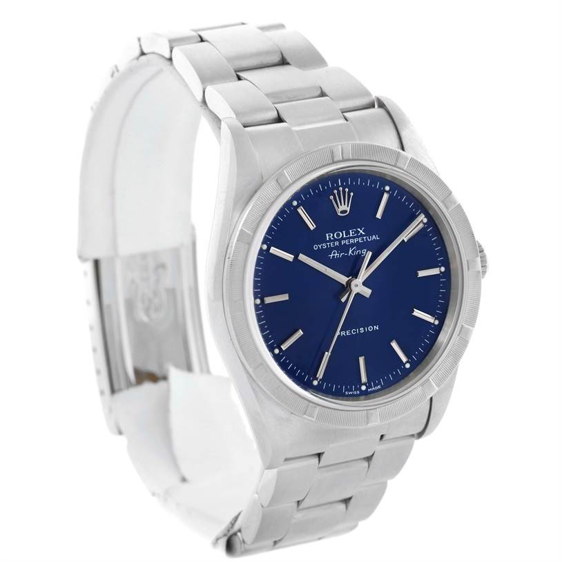 10632 Rolex Air King Blue Dial Stainless Steel Mens Watch 14010 SwissWatchExpo