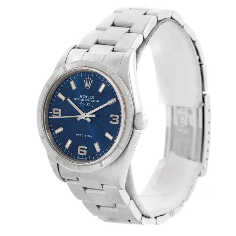 10679 Rolex Air King Blue Dial Stainless Steel Mens Watch 14010 SwissWatchExpo