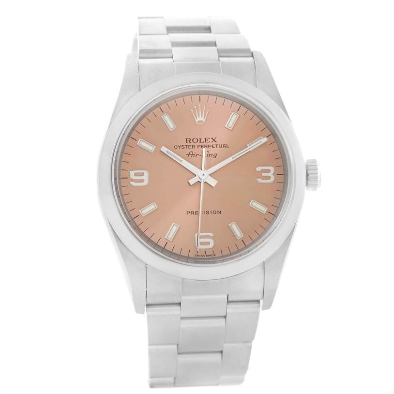 11395 Rolex Oyster Perpetual Air King Salmon Dial Steel Watch 14000 SwissWatchExpo