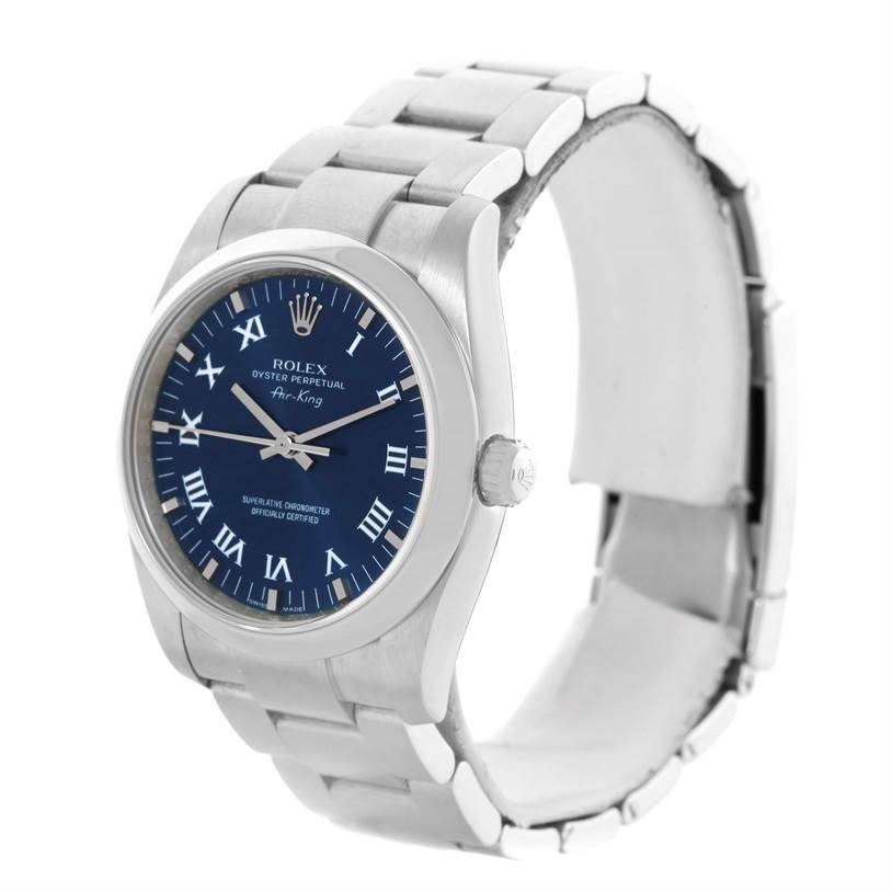 11427 Rolex Oyster Perpetual Air King Blue Roman Dial Watch 114200 SwissWatchExpo