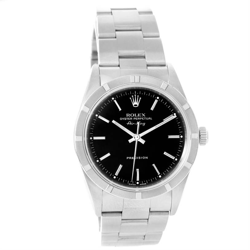 12046 Rolex Air King Black Dial Oyster Bracelet Steel Mens Watch 14010 SwissWatchExpo