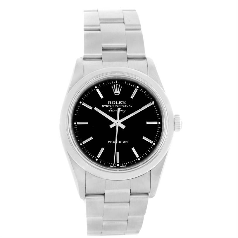 12410 Rolex Oyster Perpetual Air King Black Dial Steel Mens Watch 14000 SwissWatchExpo
