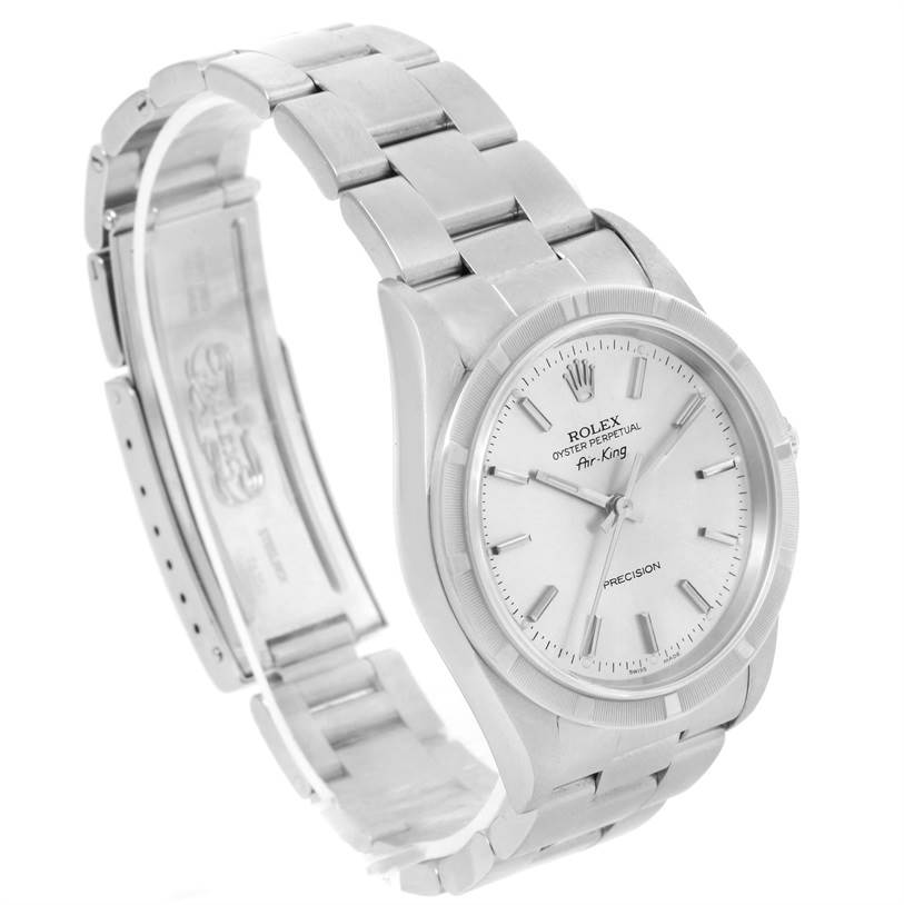 12101 Rolex Air King Stainless Steel Silver Dial Oyster Bracelet Watch 14010 SwissWatchExpo