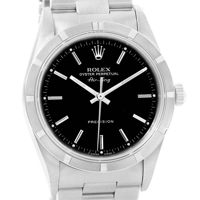13143 Rolex Air King Black Index Dial Stainless Steel Mens Watch 14010 SwissWatchExpo