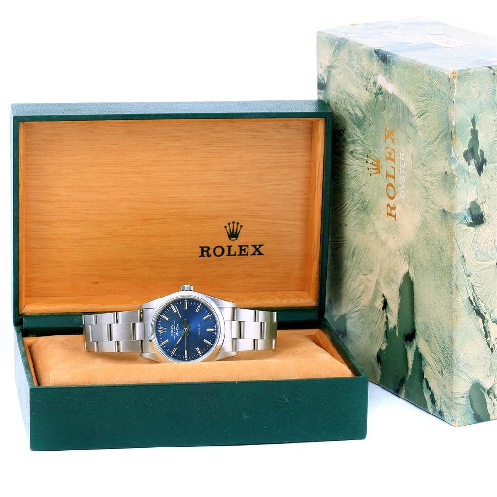 13891 Rolex Air King Blue Baton Dial Stainless Steel Mens Watch 14000 SwissWatchExpo