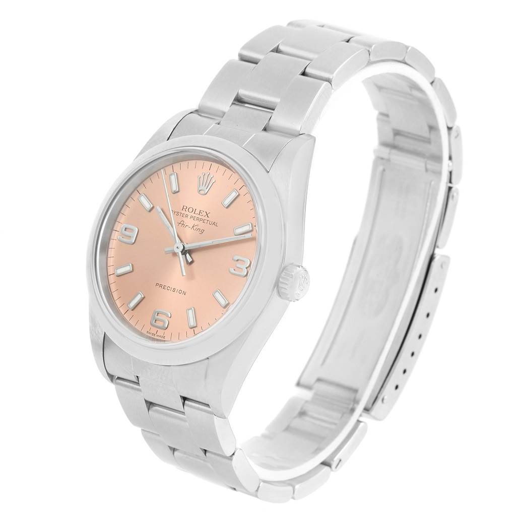 14080 Rolex Oyster Perpetual Air King Salmon Dial Steel Watch 14000 SwissWatchExpo