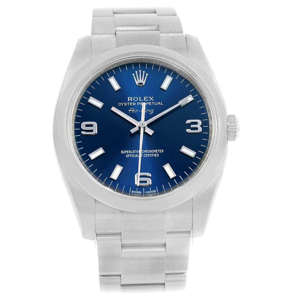 14212 Rolex Air King Blue Dial Steel Automatic Mens Watch 114200 Box Papers SwissWatchExpo