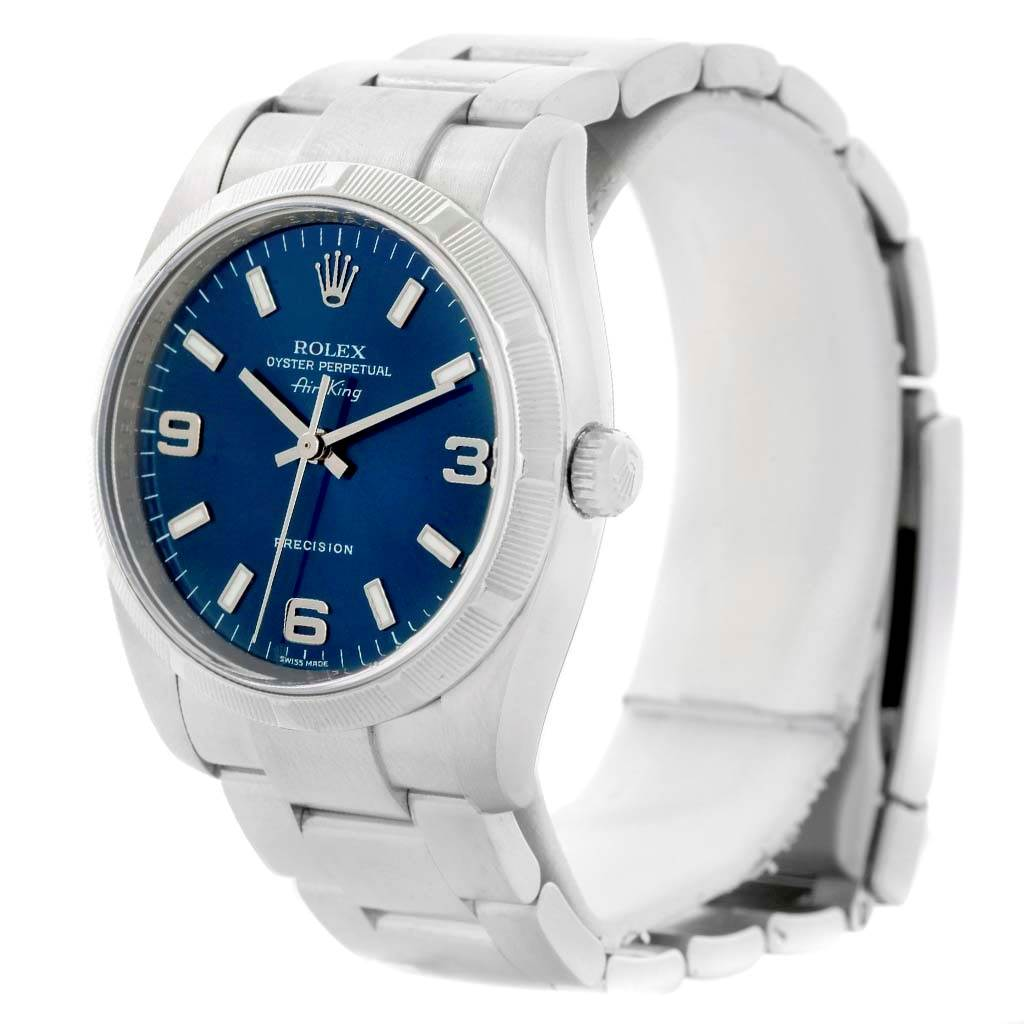 14464 Rolex Oyster Perpetual Air King Blue Dial Steel Mens Watch 114210 SwissWatchExpo